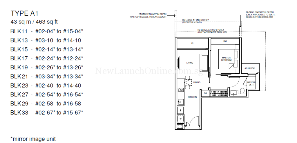 Coco Palms 1-Bedroom Floor Plan Type A1