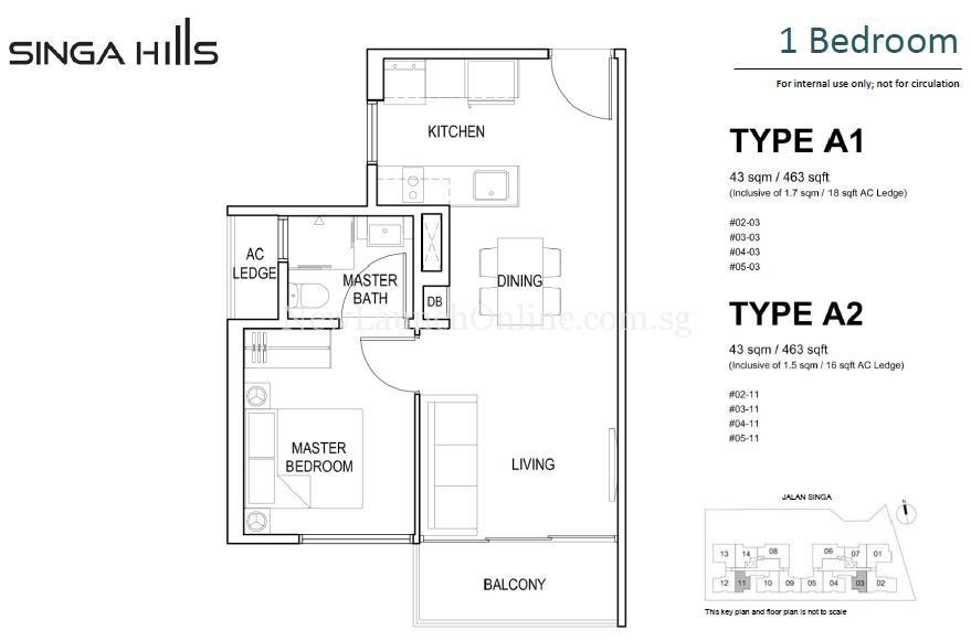 Singa Hills 1 Bedroom Floor Plan