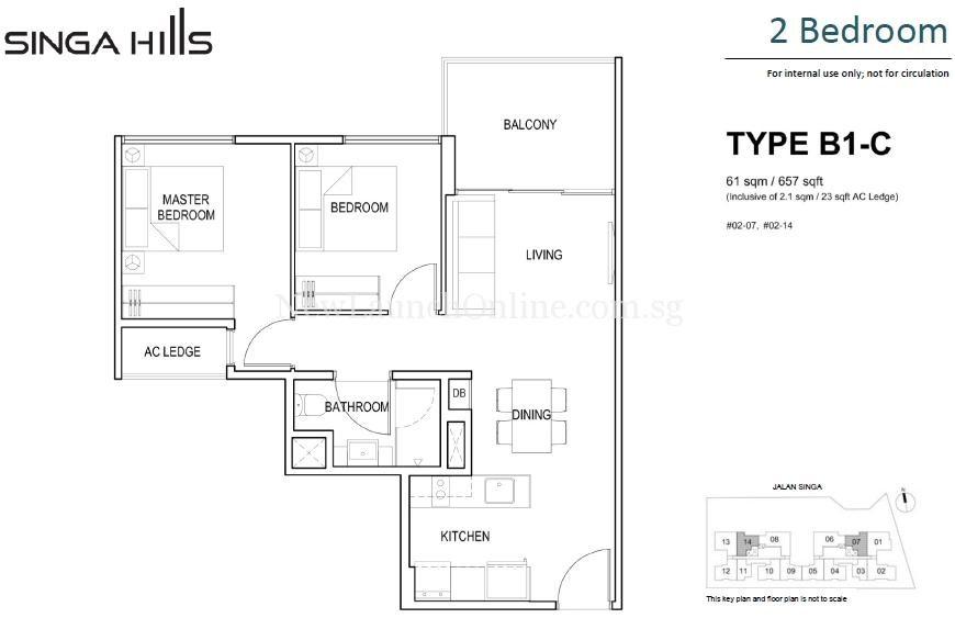 Singa Hills Type B1-C 2 Bedroom Floor Plan