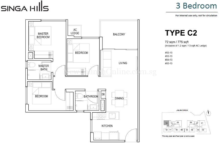 Singa Hills Type C2 3 Bedroom Floor Plan