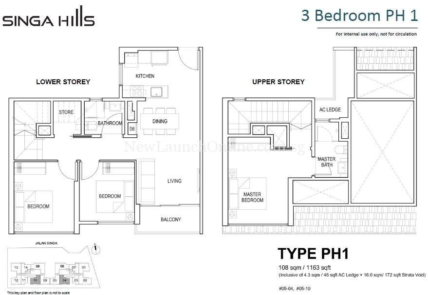 Singa Hills Type PH1 3 Bedroom Penthouse Floor Plan