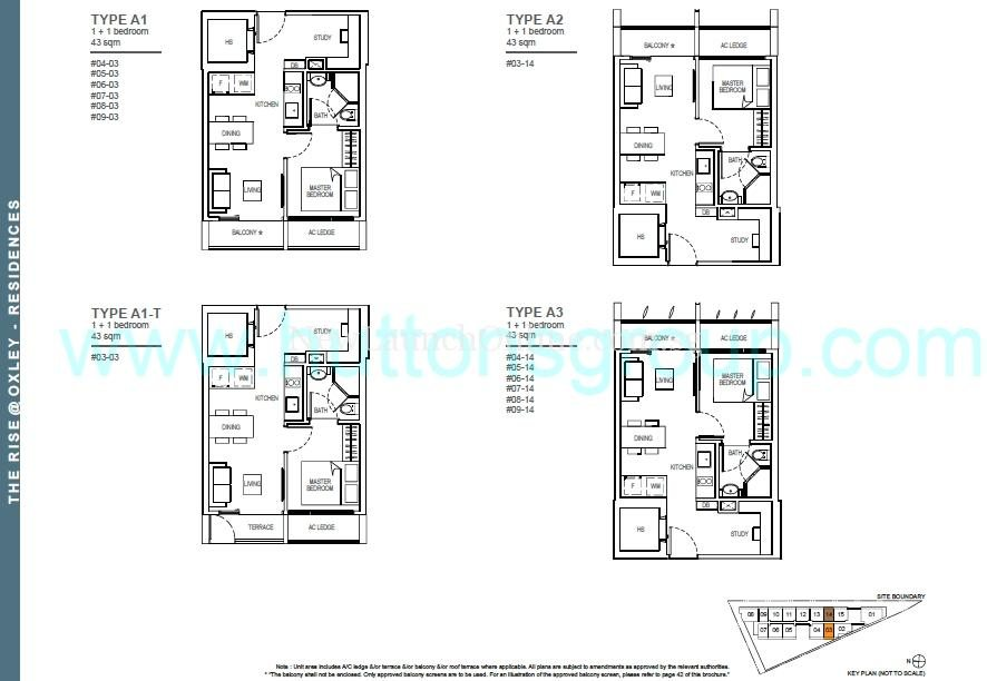 The Rise at Oxley - Residences 1+Study Floor Plan