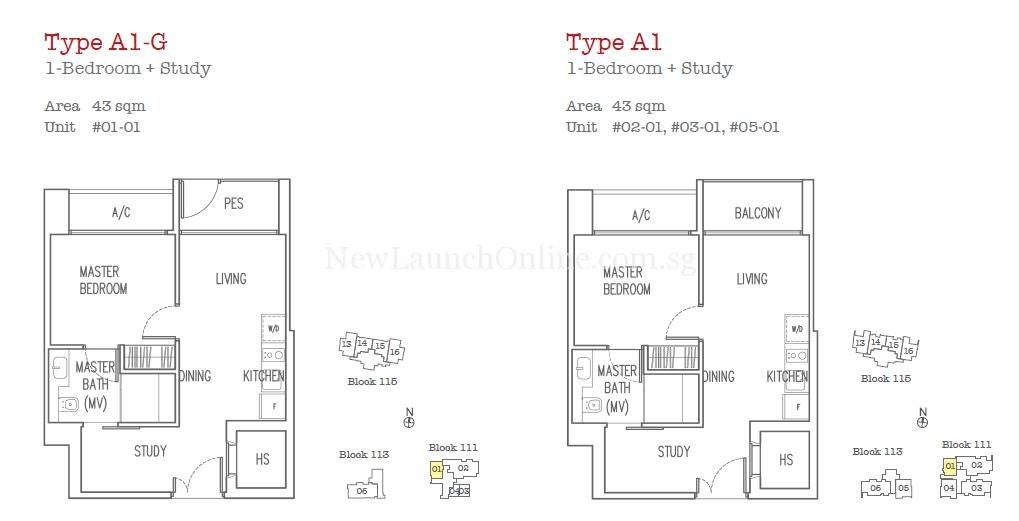 Trilive Floor Plan - 1 Bedroom+Study