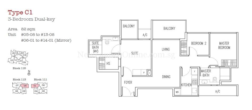 Trilive Floor Plan - 3 Bedroom Dual Key Type C1