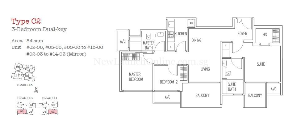 Trilive Floor Plan - 3 Bedroom Dual Key Type C2