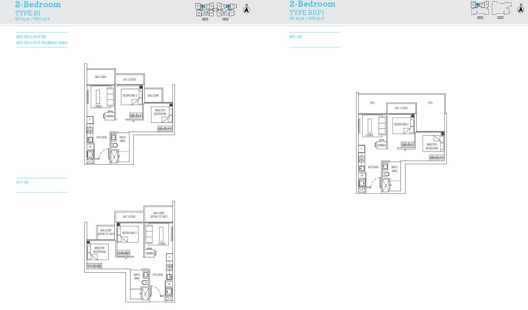 TRE Residences floor plan - 2 bedroom