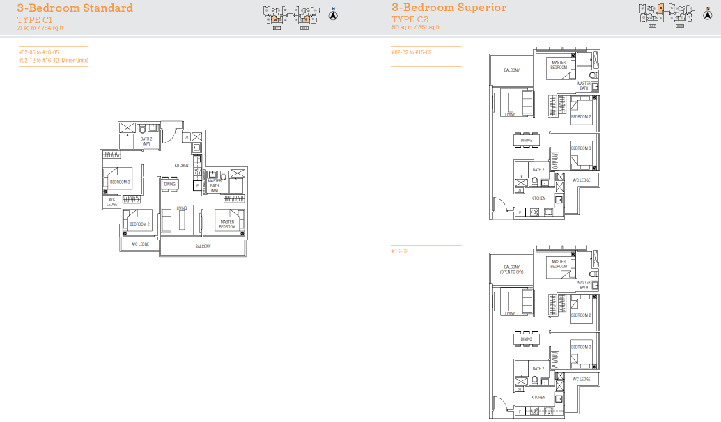 TRE Residences floor plan - 3 bedroom standard