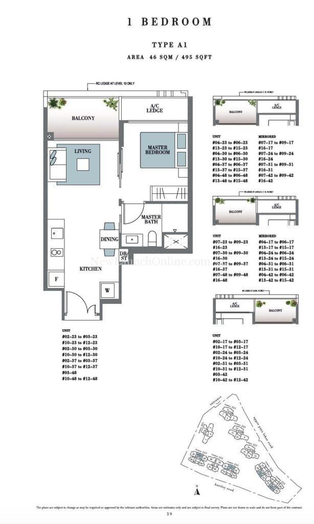 Botanique 1 bedroom Floor Plan Type A1