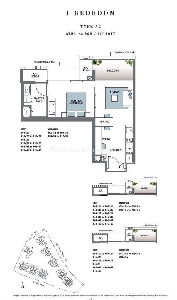 Botanique 1 bedroom Floor Plan Type A2