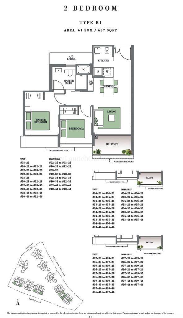 Botanique 2 bedroom Floor Plan Type B1