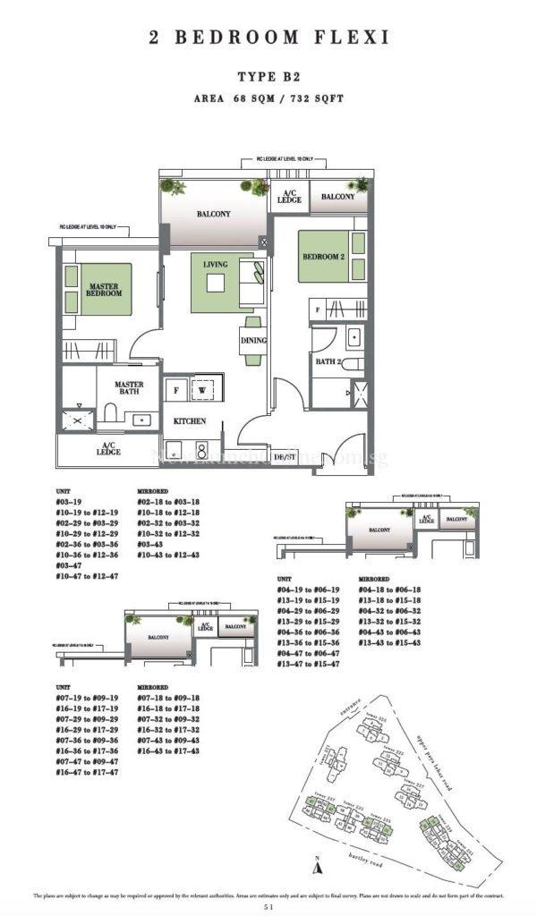 Botanique 2 bedroom Floor Plan Type B2