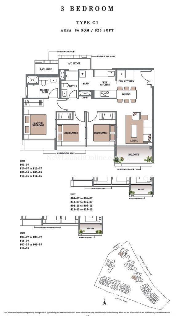 Botanique 3 bedroom Floor Plan Type C1