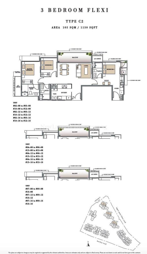 Botanique 3 bedroom Floor Plan Type C2