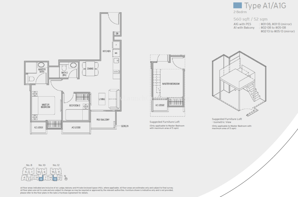 Adana at Thomson Floor Plan - 2 Bedroom (Type A1)