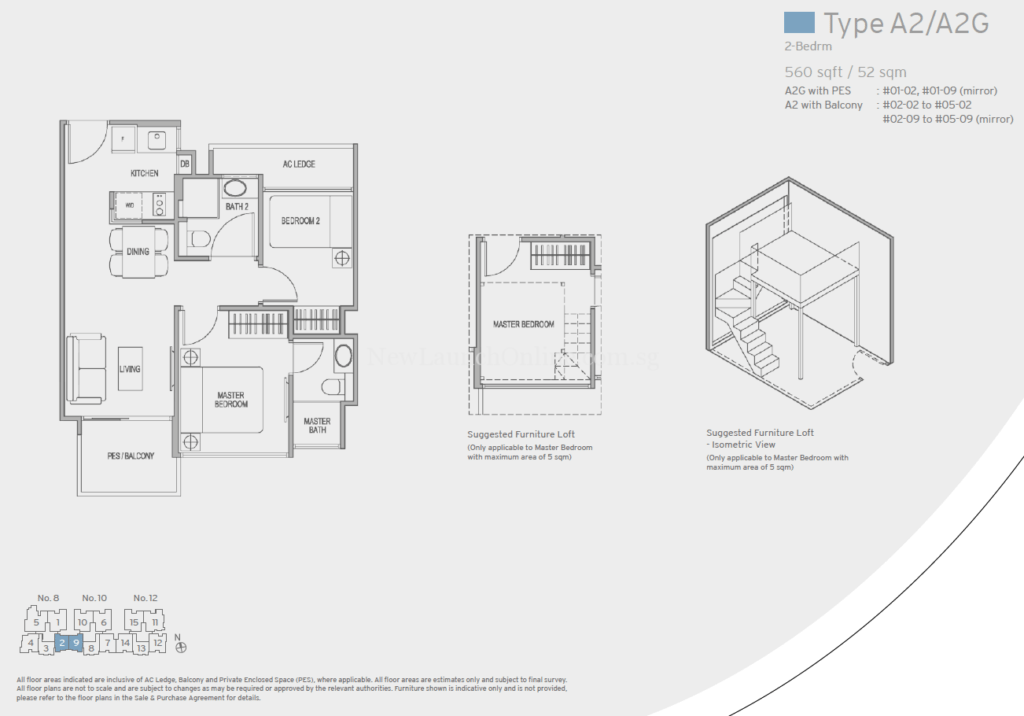 Adana Floor Plan - 2 Bedroom (Type A2)