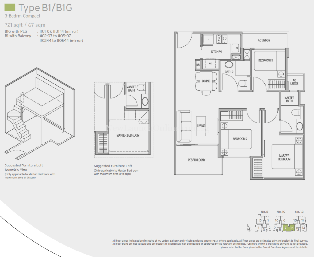 Adana Floor Plan - 3 Bedroom (Type B1)