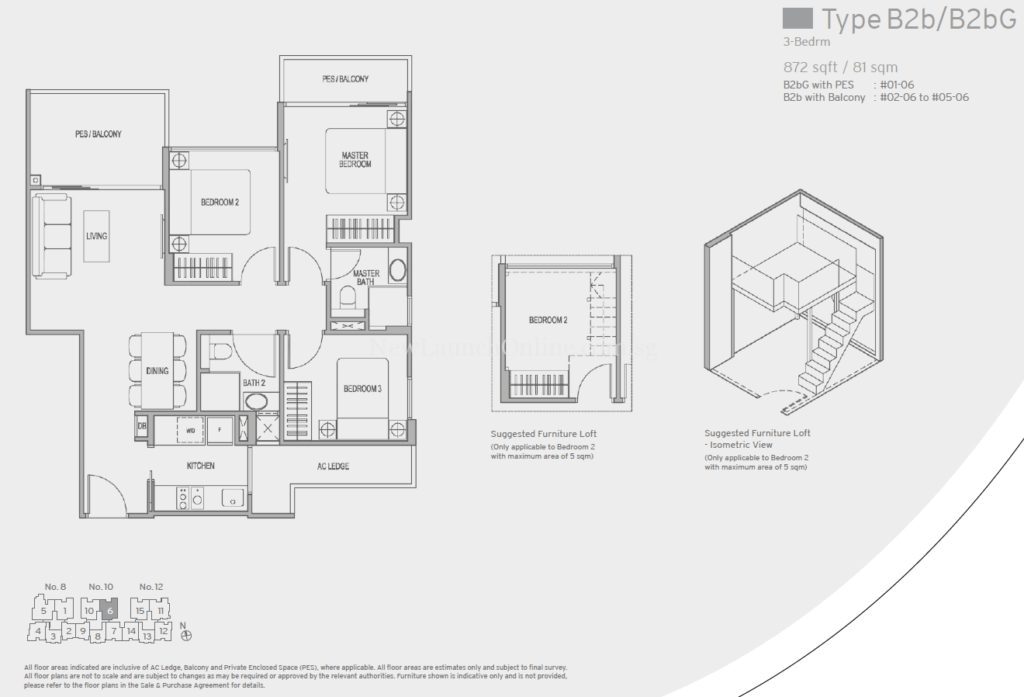 Adana Floor Plan - 3 Bedroom (Type B2b)