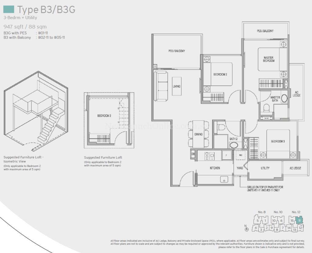 Adana Floor Plan - 3 Bedroom+Utility (Type B3)