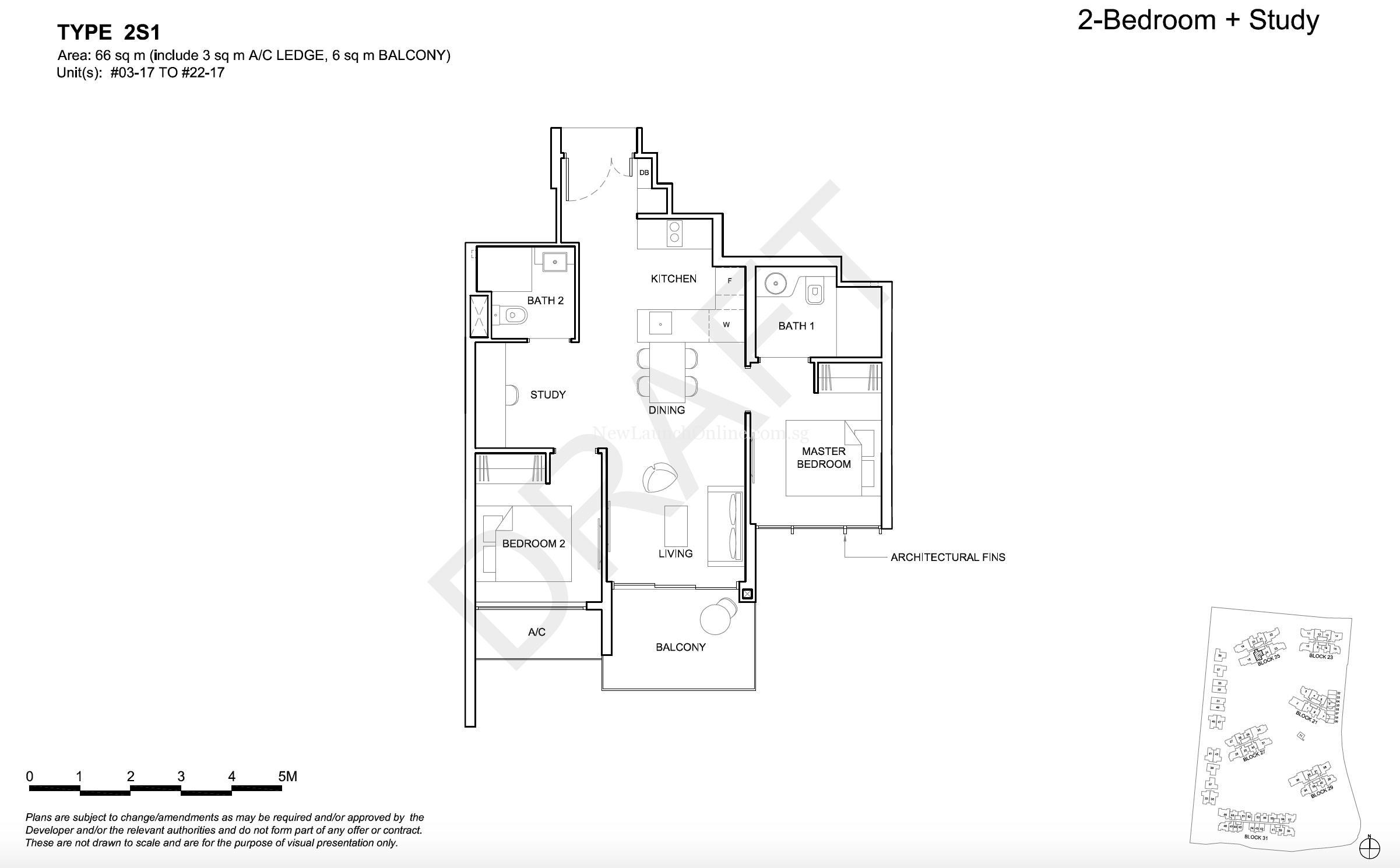 High Park Residences Floor Plan - 2 bedroom + Study Type ...