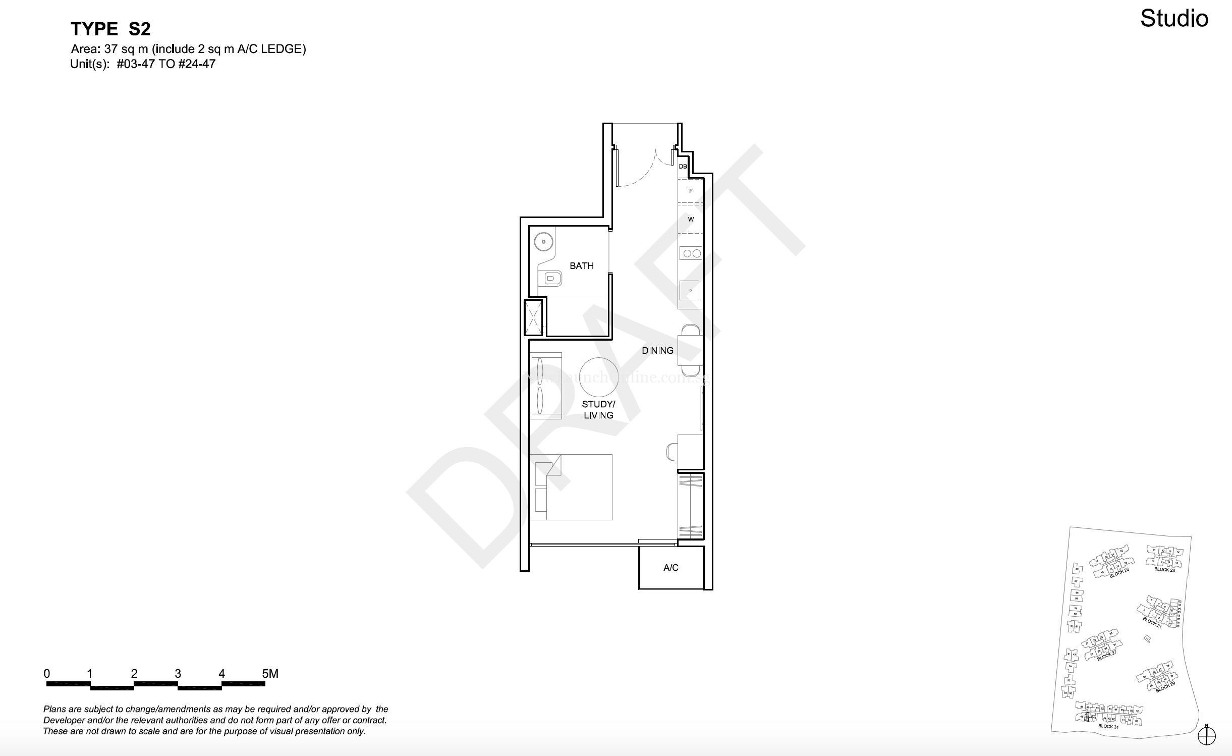 High Park Residences Floor Plan Studio Type S2