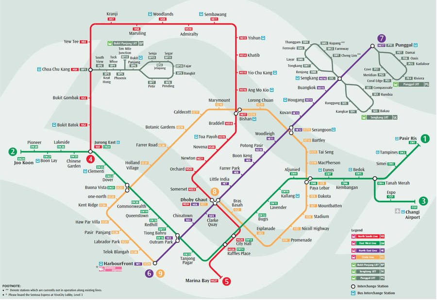 Singapore MRT Map Oct 2011
