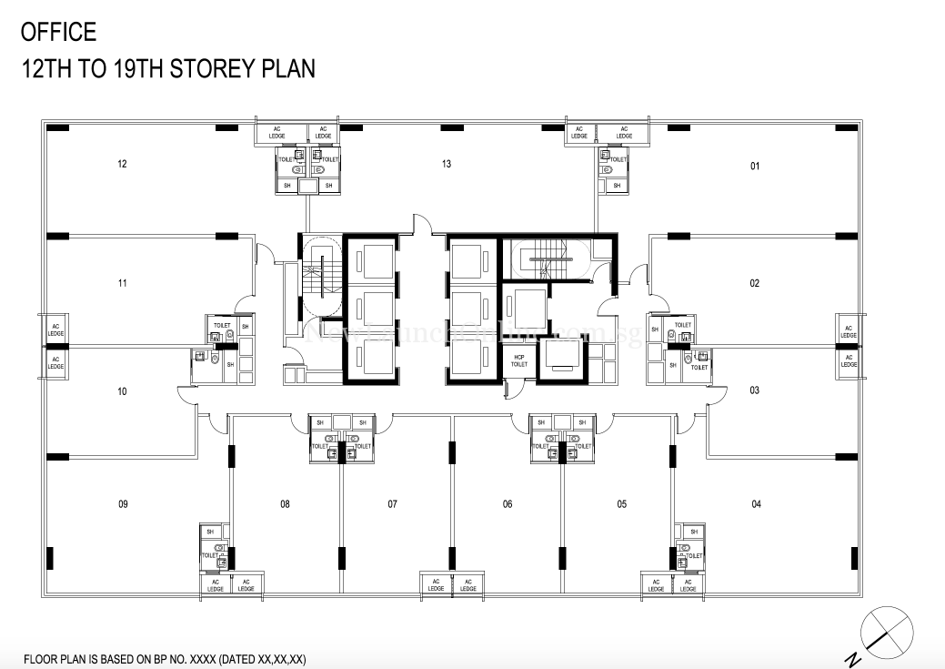 Centrium Square office floor plan-12th to 19th