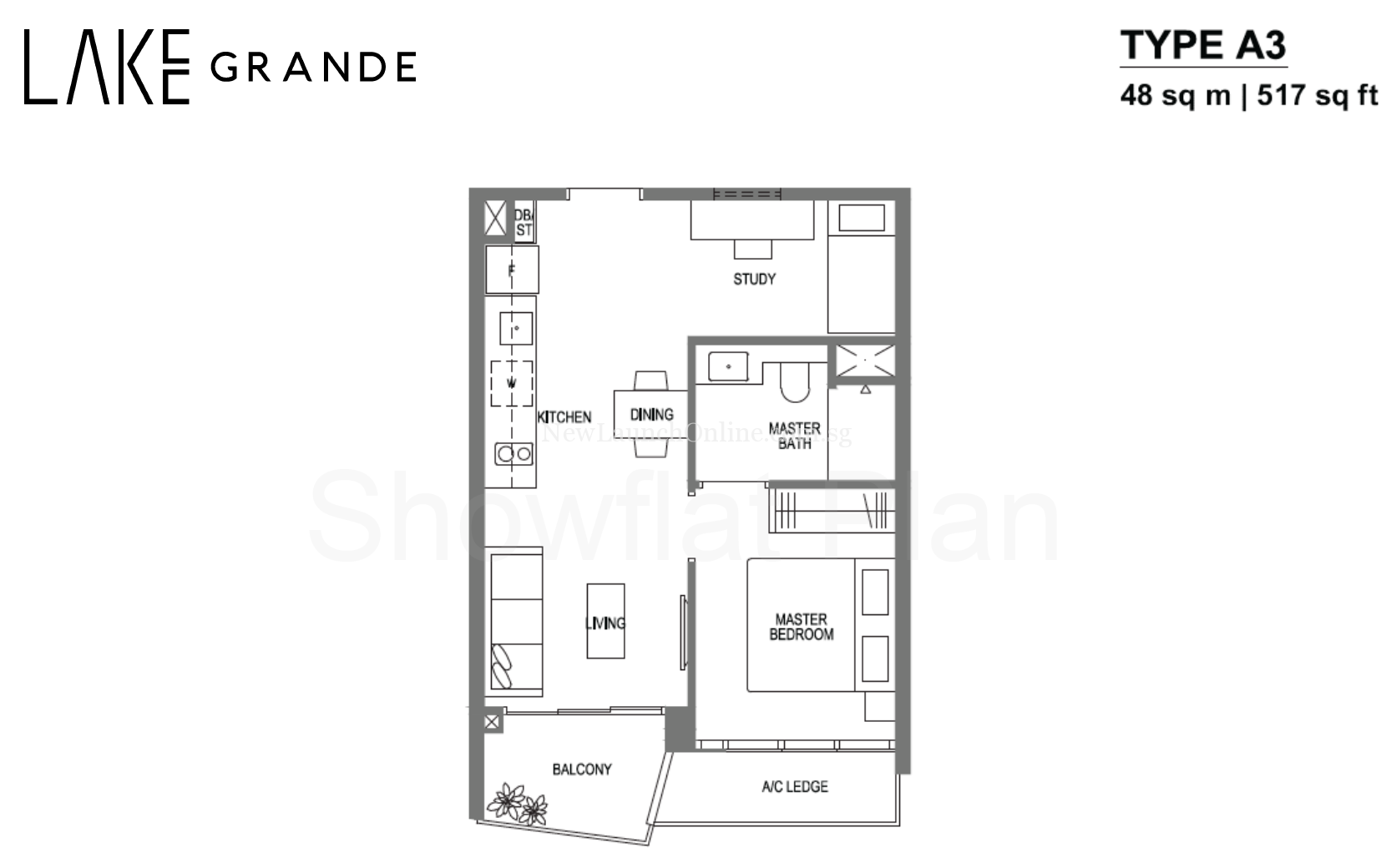 Lake Grande Floor Plan 1+Study Type A3