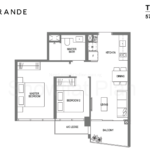 Lake Grande Floor Plan 2 Bedroom Type B1