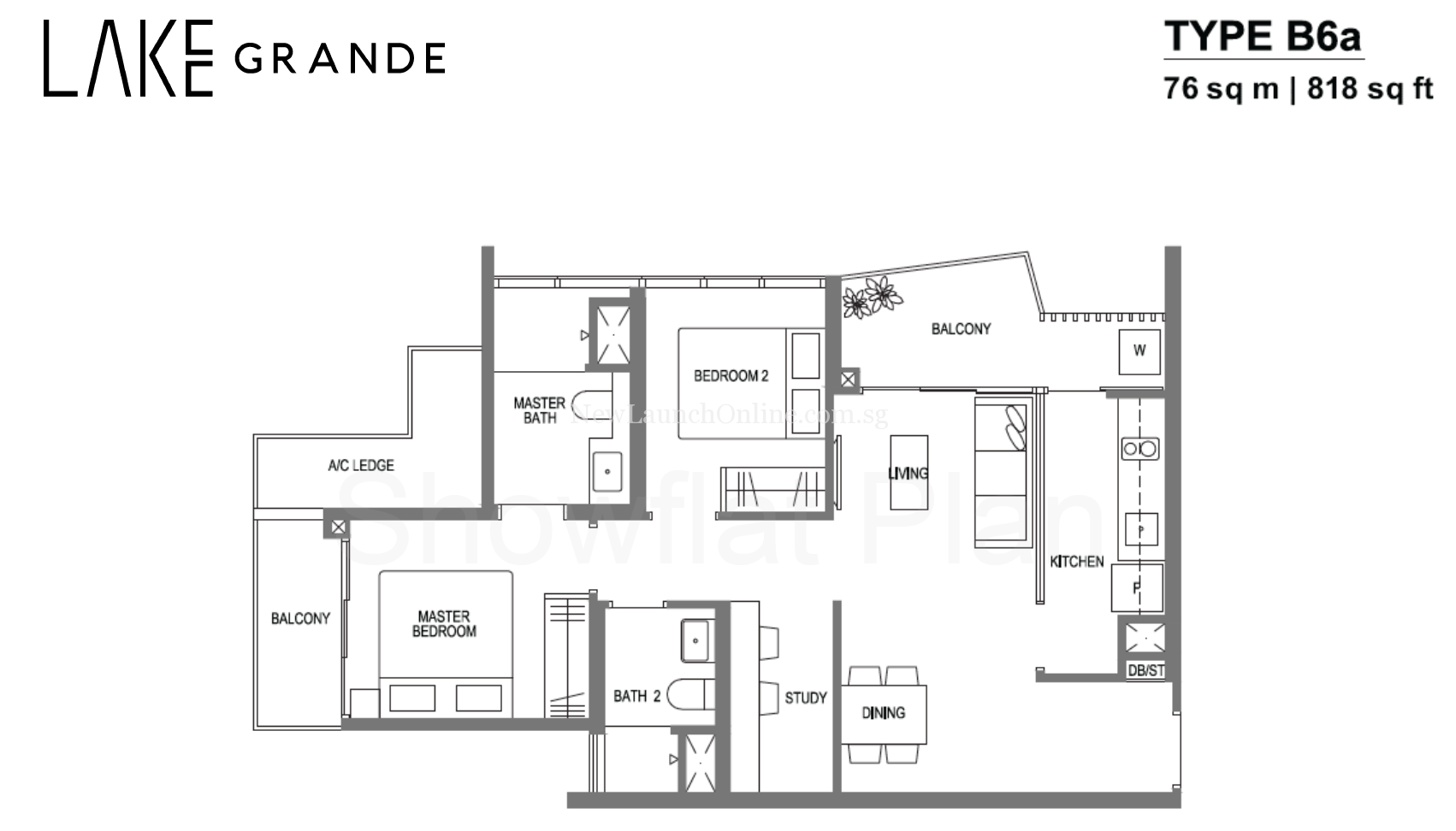 Lake Grande Floor Plan 2+Study Type B6a