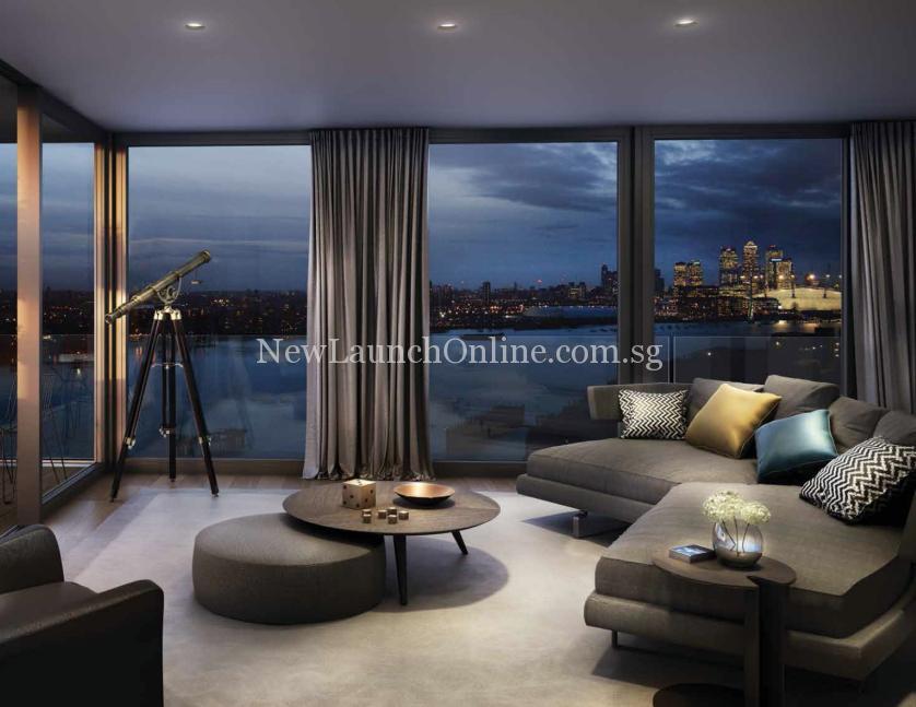 Royal Wharf London Living Room Night View