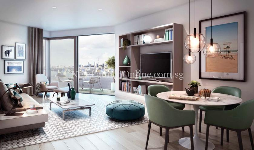 Royal Wharf London Living Room with View