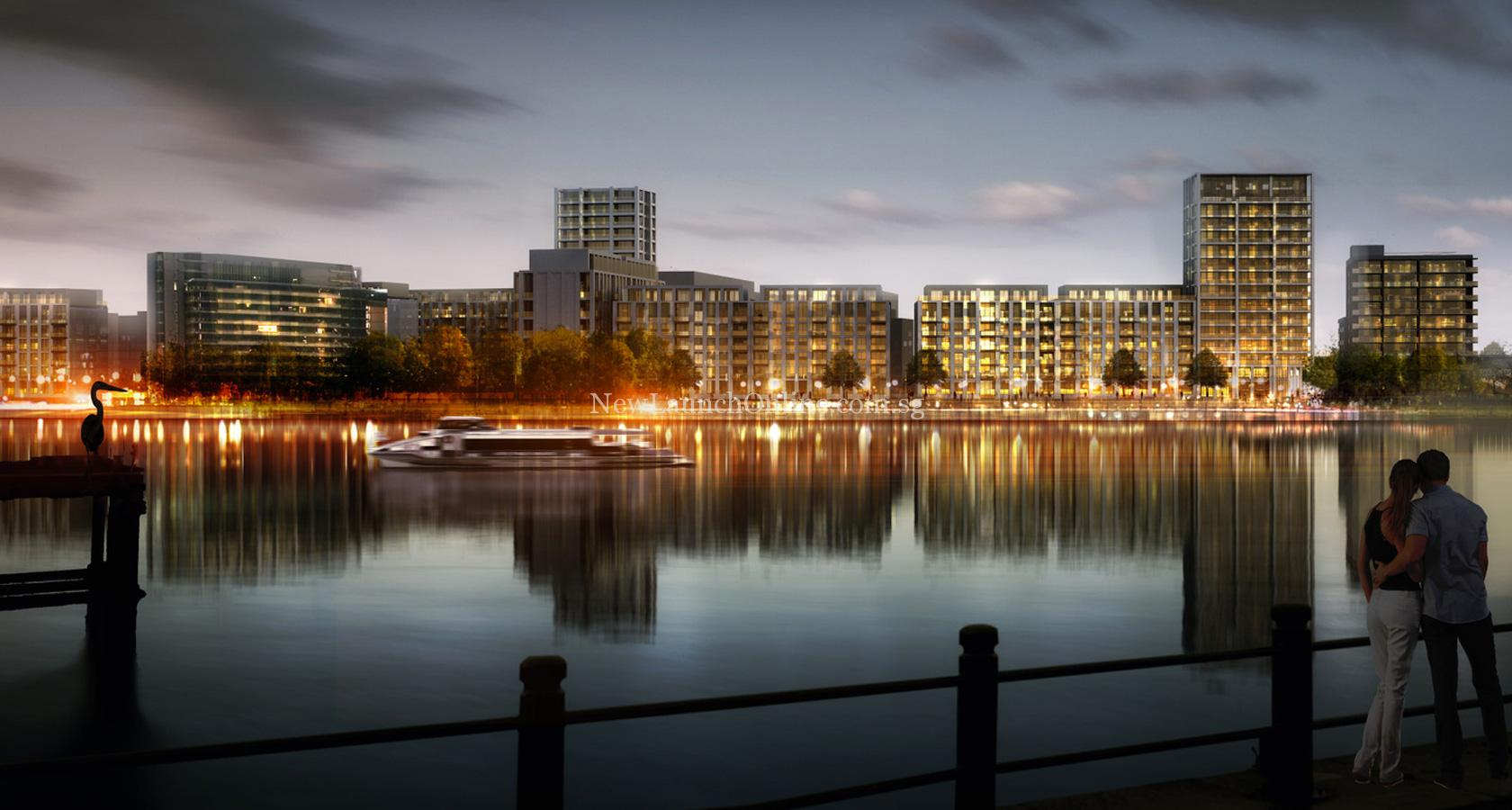 Royal Wharf London Night Riverside View