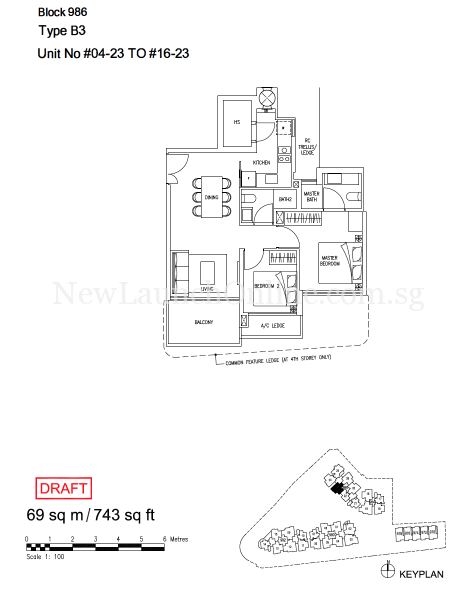 Stars Of Kovan 2 Bedroom Floor Plan Type B3