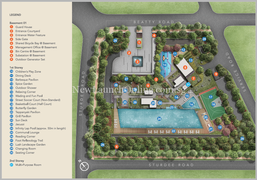 Sturdee Residences Site Plan with Facilities