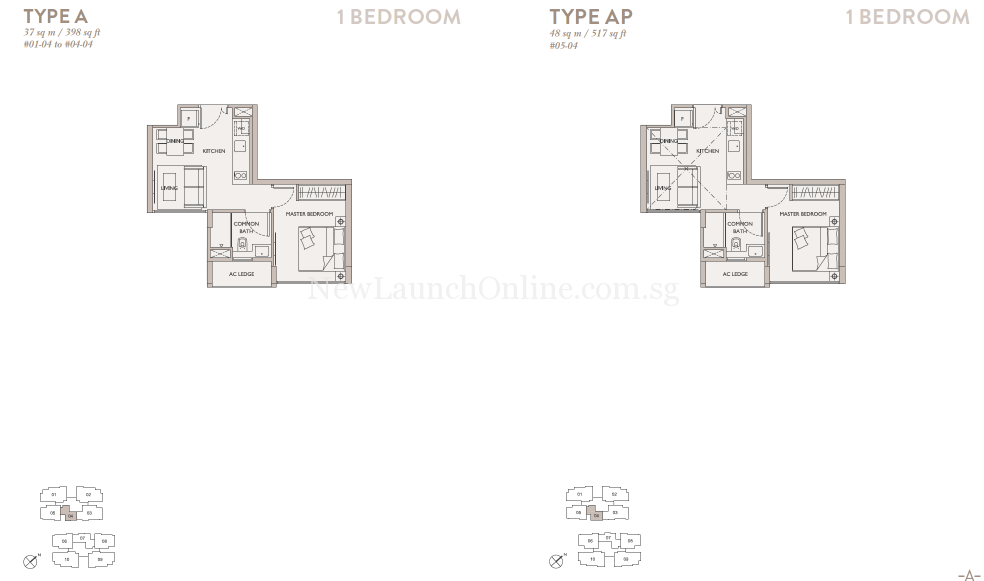 The Asana 1 Bedroom Floor Plan