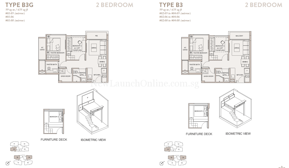 The Asana 2 Bedroom Floor Plan with furniture deck