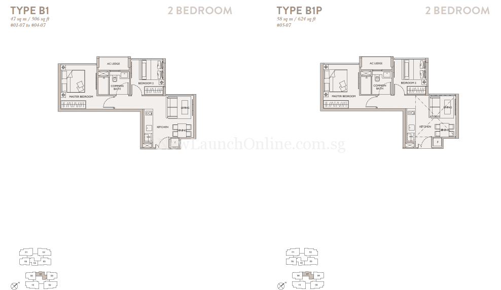 The Asana 2 Bedroom Floor Plan