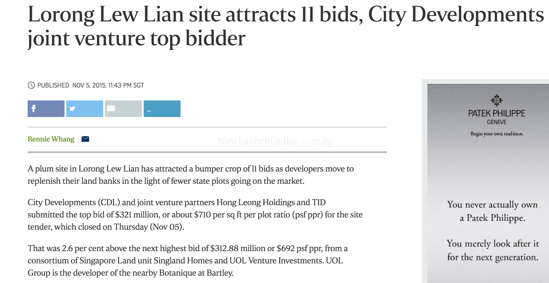 Lorong Lew Lian site attracts 11 bids