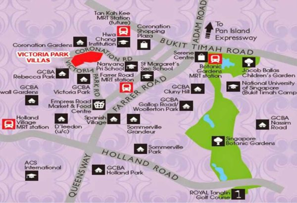 Victoria Park Villas showflat location Map