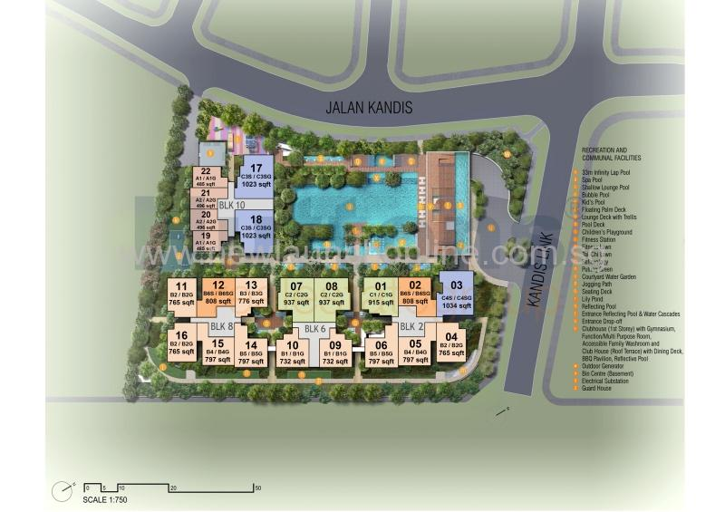 Kandis Residence Site Plan with unit size