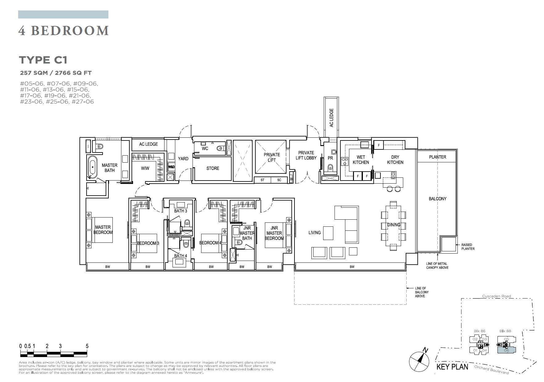 Boulevard 88 Floor Plan 4 Bedroom Type C1 Newlaunchonline Com Sg