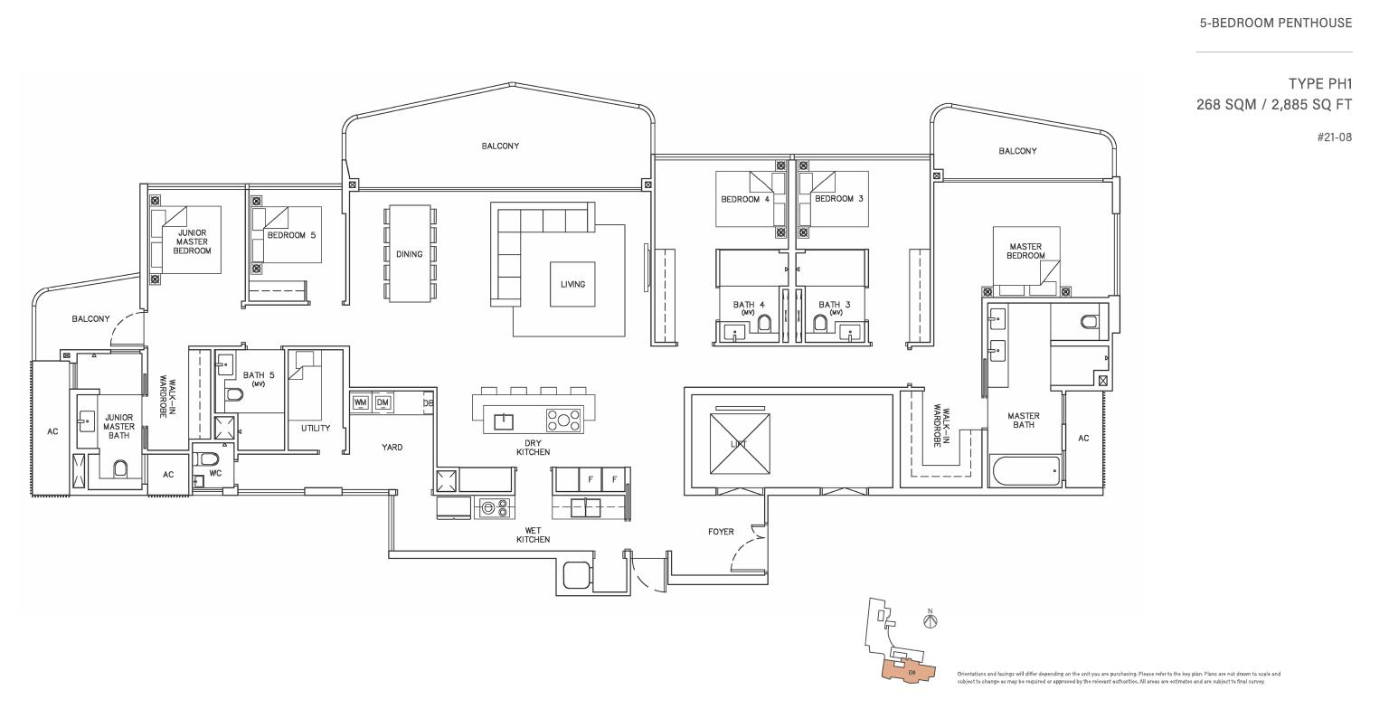 Coastline Residences 5 Bedroom Penthouse Floor Plan Newlaunchonline Com Sg