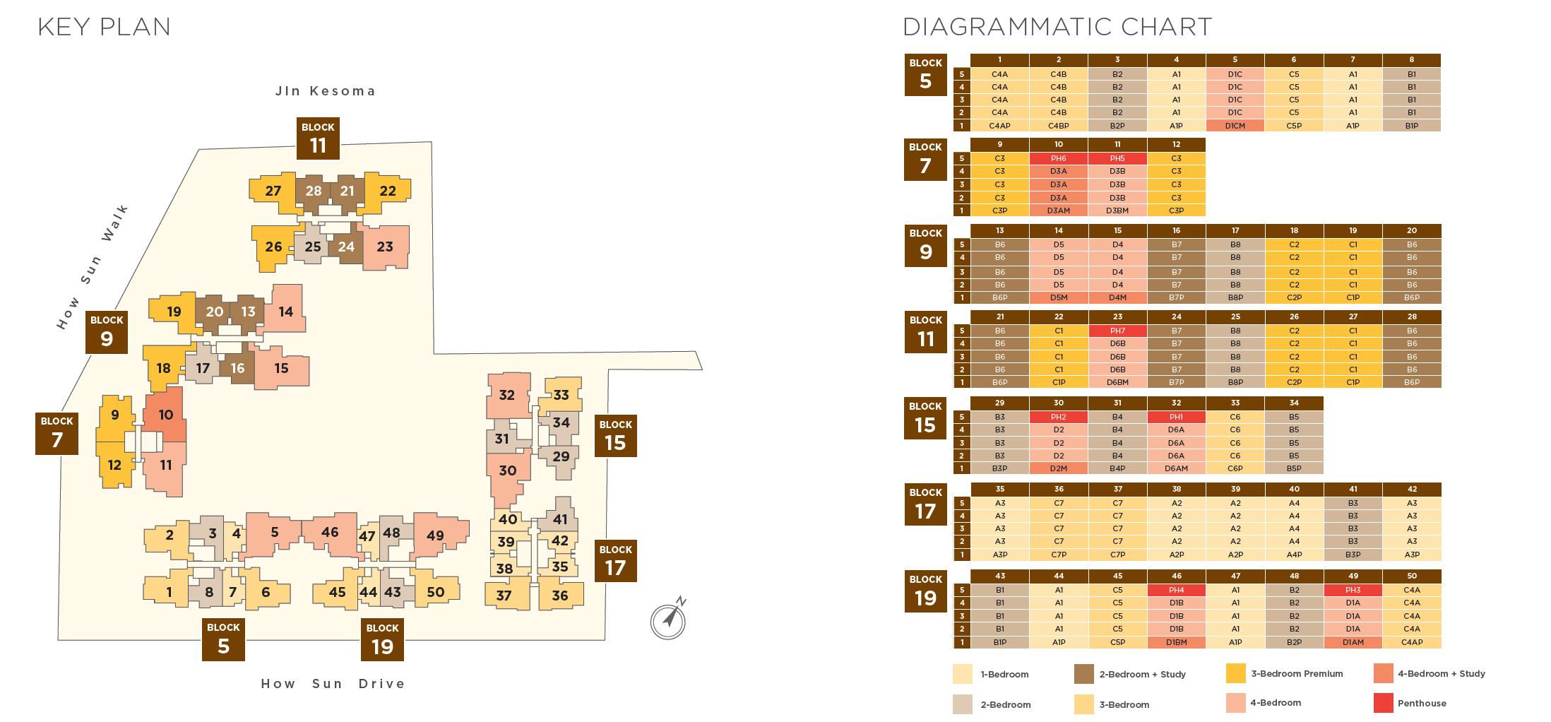 The Gazania key plan and diagrammatic chart