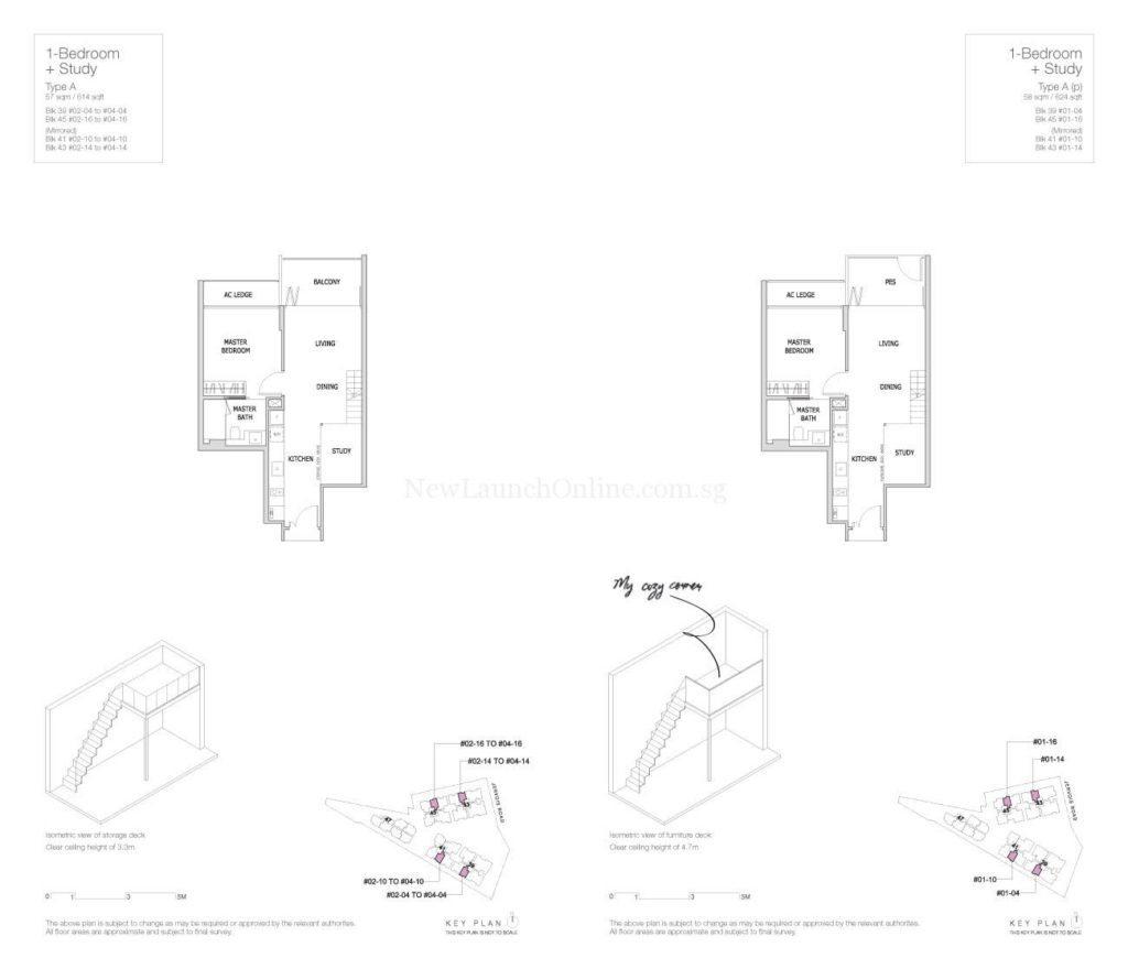 Mon Jervois Floor Plan 1+Study Type A