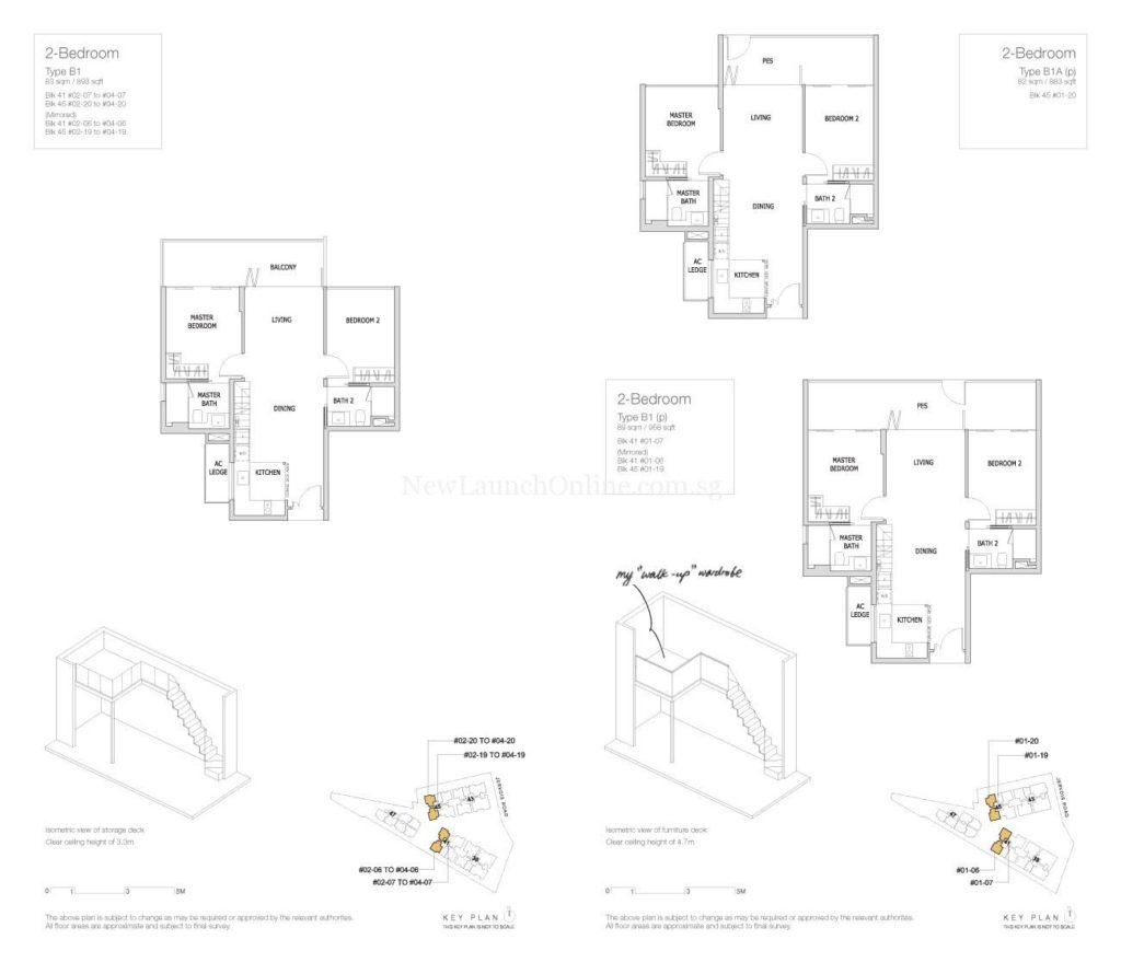 Mon Jervois Floor Plan 2 Bedroom Type B1
