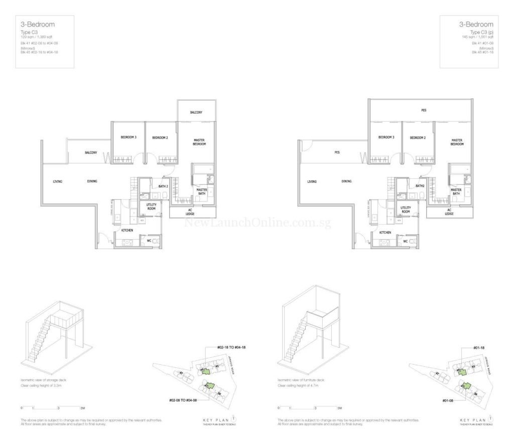 Mon Jervois Floor Plan 3 Bedroom Type C3